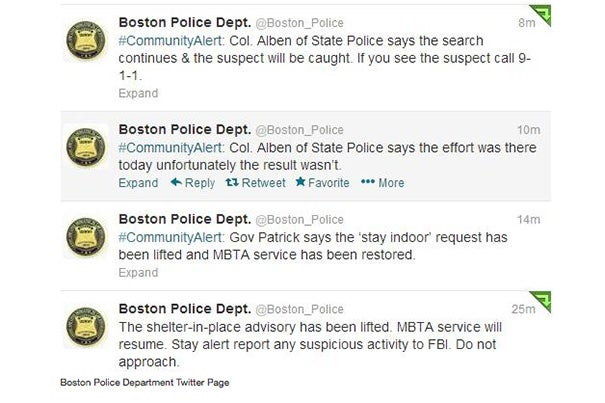 "The Boston Police Department used its ""official Twitter account to request public assistance; to keep the public and media informed about road closures, news conferences, and police activities; to reassure the public and express sympathy to the victims and their families; and critically, within two hours of the explosions, to give the public accurate information about the casualty toll and the status of the investigation,"" stated a report from the Program in Criminal Justice Policy and Management at Harvard Kennedy School."