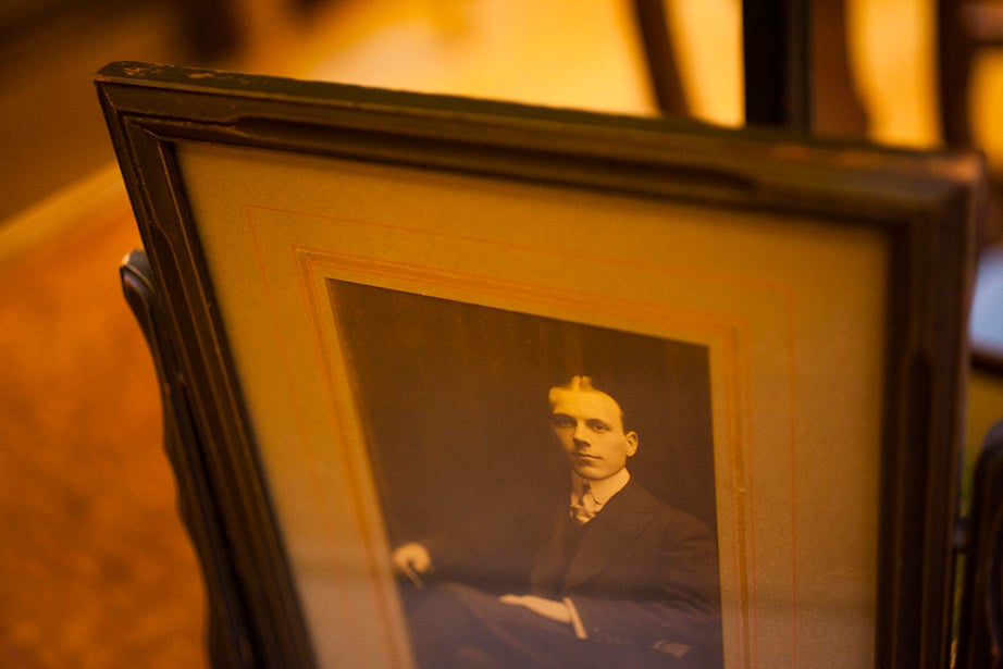 The Harry Elkins Widener Memorial Collection resides inside Harvard's Widener Library. A photograph of Harry Elkins Widener is on display in the room.