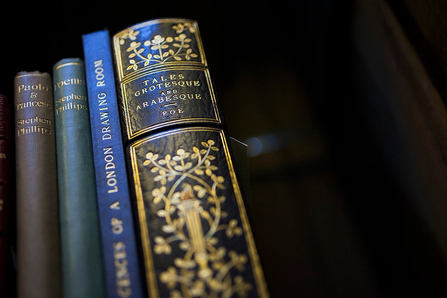 """An 1840 first edition of Edgar Allan Poe's collection of short stories """"Tales of the Grotesque and Arabesque"""" is part of the Widener collection."""