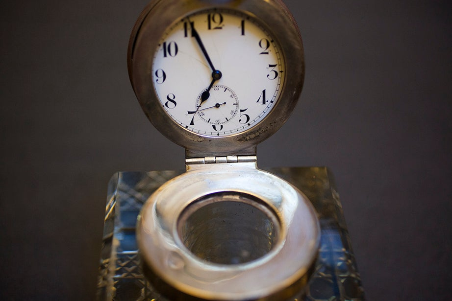 Harry Elkins Widener's inkwell is one of his few personal items in the collection, besides his volumes.