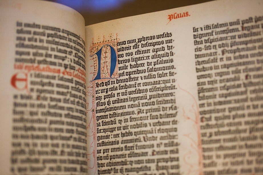 Johann Gutenberg's 1454-55 Latin Bible is one of the collection's main attractions.