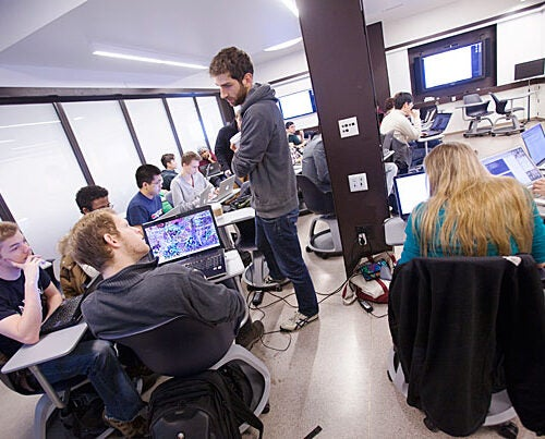 Harvard Assistant Professor Luke Bornn teaches a statistics class on big data in Stone Hall in Quincy House, Harvard's first House renewal project.
