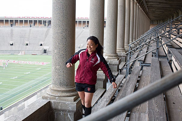 "Rugby has ""been a huge part of what I've done here, and a lot of the people I'm closest to at Harvard are my teammates,"" said Shelby Lin '14, who in the fall will head to Pembroke College at the University of Cambridge in England to study public health on a Harvard-Cambridge Scholarship."