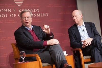 "In a talk with David Gergen (right), Google CEO Eric Schmidt set forth a local challenge. ""Here in Cambridge, we have some of the smartest people in the world … If I can be critical for a sec: Why have you guys not produced the equivalent of Twitter, Facebook, Google, and so forth? I don't know,"" he said. ""So there's an action item for you."""