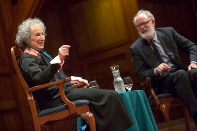 Atwood discussed her work with John Lithgow before receiving the Arts Medal.