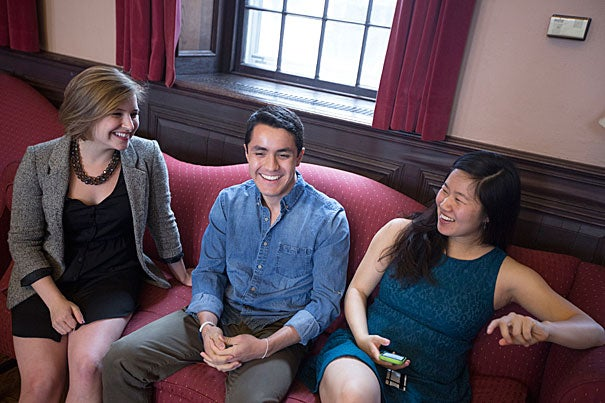 """Danielle Schulkin (from left), Tonatiuh Lievano Beltran, and  Alice Li, all of the Class of '14, received the Michael C. Rockefeller Memorial Fellowship, which contributes toward a year of """"purposeful postgraduate immersion"""" in a foreign culture."""