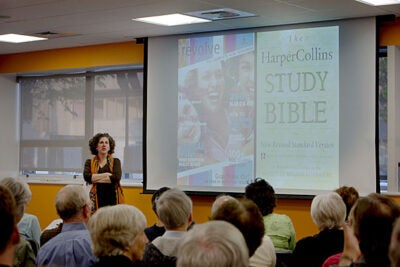 """""""The letters of Paul are still relevant today: liturgically, as Western classics, and as ways of thinking about politics, ethnicity, or equality,"""" said Laura Nasrallah, professor of New Testament and early Christianity at the Harvard Divinity School, in a talk at the Harvard Allston Education Portal."""