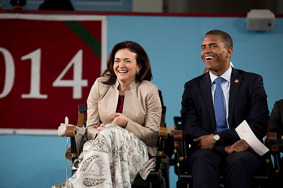 Facebook COO Sheryl Sandberg shared an onstage laugh during Class Day, where she was the featured speaker. Rose Lincoln/Harvard Staff Photographer