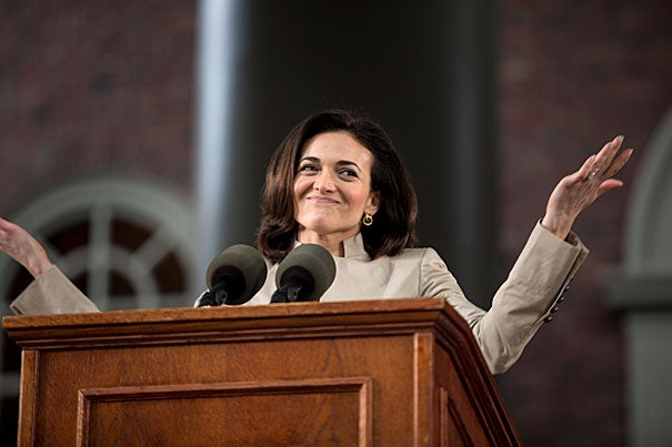 """There is no straight path from your seat today to where you are going,"" Sandberg told College seniors. ""Don't try to draw that line."""