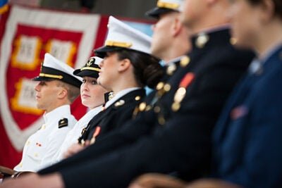 """You will honor the service and sacrifice of those who came before you through your own commitment,"" said President Drew Faust (photo 2) in her remarks at the ROTC Commissioning Ceremony, where seven soon-to-be Harvard graduates, including Taylor Evans (photo 3), received their first military assignments."