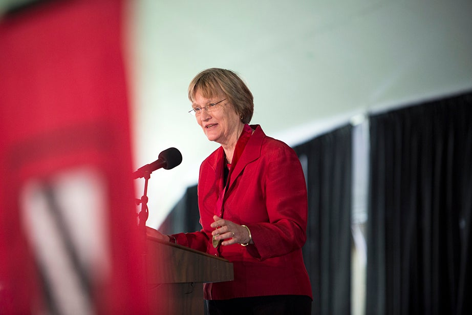 Harvard University President Drew Faust is named the 2014 Radcliffe Medalist. Stephanie Mitchell/Harvard Staff Photographer
