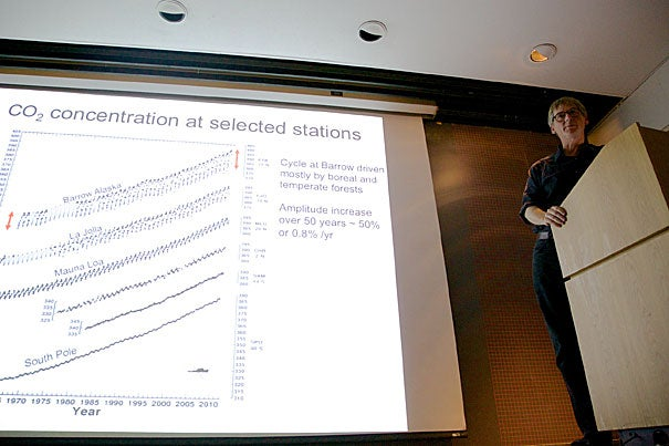 """""""We're way out of the natural range. If there's a symbol of us being at a dangerous level, it's that we're already at 400 parts per million,"""" said Ralph Keeling (photo 1), the son of the late Charles Keeling, whose """"Keeling curve"""" alerted the world to rising carbon dioxide levels in the 1960s. Keeling was joined by Daniel Schrag (photo 2), director of the Harvard University Center for the Environment, for an event titled """"Brave New World! Entering an Age of Climate Change Beyond 400 PPM."""""""
