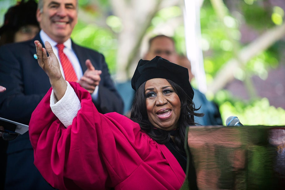 Queen of Soul Aretha Franklin acknowledges the crowd after delivering a moving rendition of the national anthem. Jon Chase/Harvard Staff Photographer
