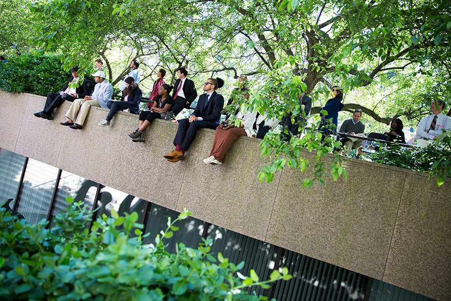 Spectators watch Commencement from above Pusey Library. Stephanie Mitchell/Harvard Staff Photographer