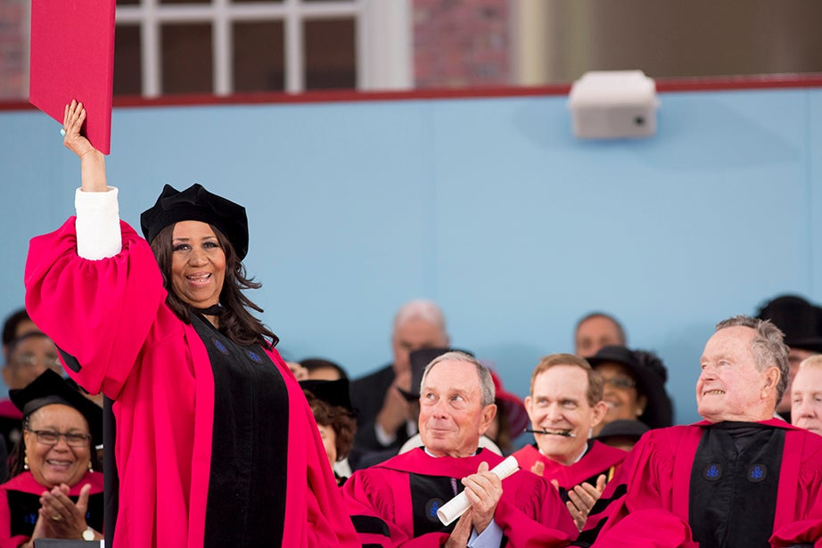 Aretha Franklin receives an honorary degree in the arts. Rose Lincoln/Harvard Staff Photographer