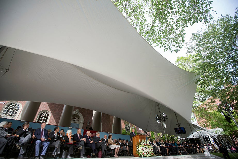 Michael R. Bloomberg speaks during Commencement exercises. Kris Snibbe/Harvard Staff Photographer