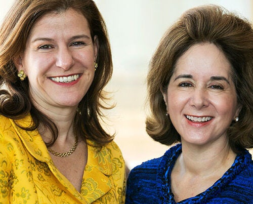 """I've always felt a deep sense of community with Harvard alumni and am truly honored to be given this position of trust and responsibility,"" said incoming Harvard Alumni Association president Cynthia A. Torres '80, M.B.A. '84 (right), who succeeds Catherine A. ""Kate"" Gellert '93 (left)."