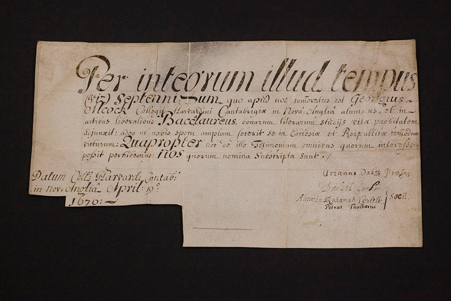 This diploma for George Alcock, A.B. 1673, is the earliest known example in the Harvard University Archives. It is dated April 19, 1676.