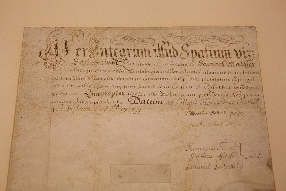Puritan minister Increase Mather, Harvard's sixth president, signed this 1701 Master of Arts diploma for his son Samuel Mather.