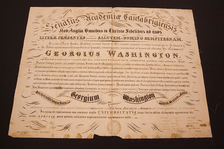 "This is an 1840 replica of the honorary LL.D. bestowed by Harvard on George Washington — ""Georgium Washington"" — on April 18, 1776."