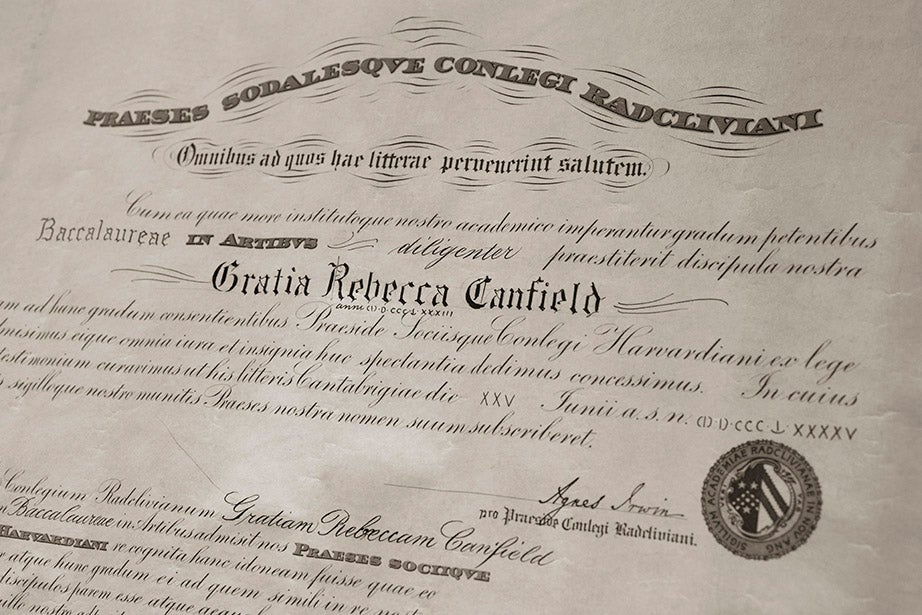 Grace Rebecca Canfield's subsequent A.B. degree from Radcliffe College in 1894, its first year.