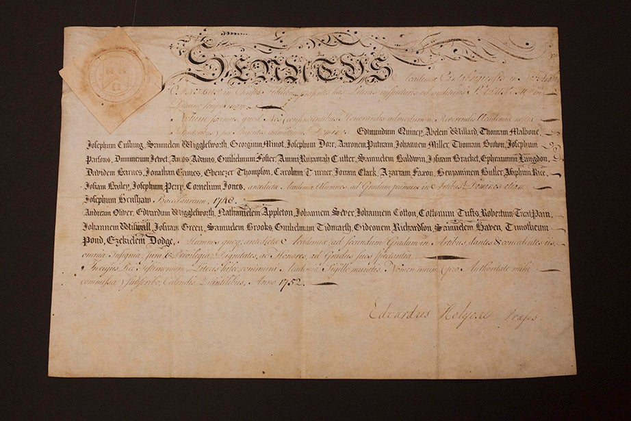 "The ""general degree diploma"" of 1752, the earliest of its type preserved in Harvard collections. Such diplomas, listing all graduates, were printed in years when Commencement was interrupted by war, disease, or economic depression. In 1752, Boston suffered an outbreak of smallpox."