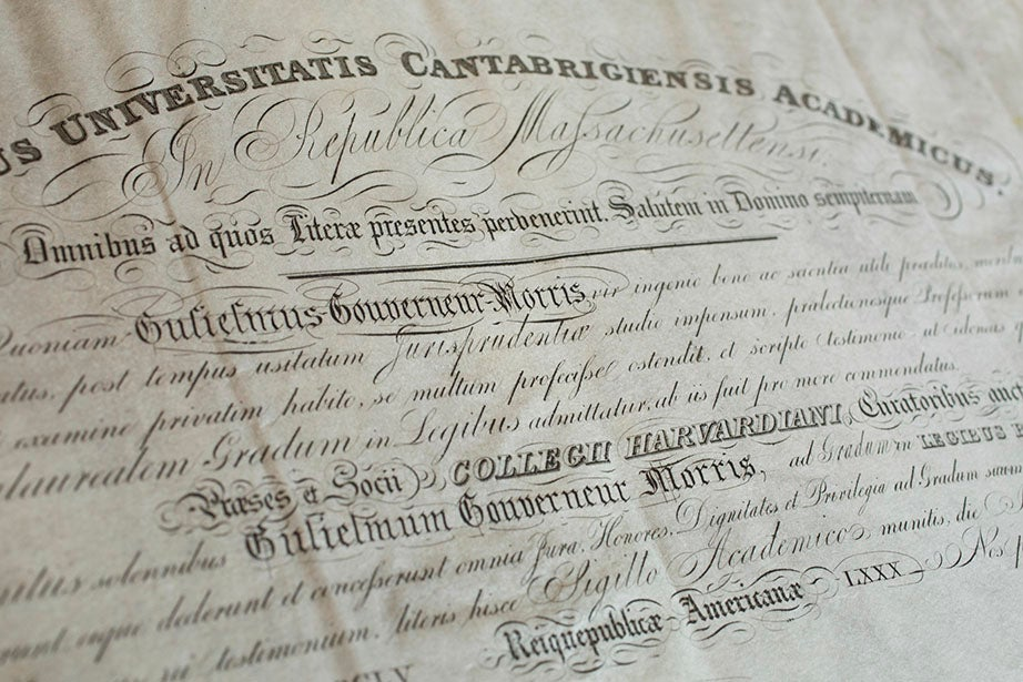 The 1855 diploma of William Gouverneur Morris, who earned an LL.B. degree from Harvard Law School. It was signed by Harvard President James Walker, under whose regime (1853-1860) Harvard constructed its first sciences building, offered its first music course, and hired its first black staffer, boxing instructor A. Molyneaux Hewlett.