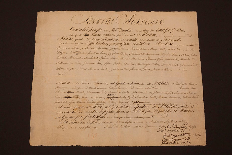 Harvard College's general degree diploma dated Oct. 3, 1775, signed by President Samuel Locke. At the time, the College was exiled to Concord, Mass., while Harvard was an armed camp housing the Continental Army.