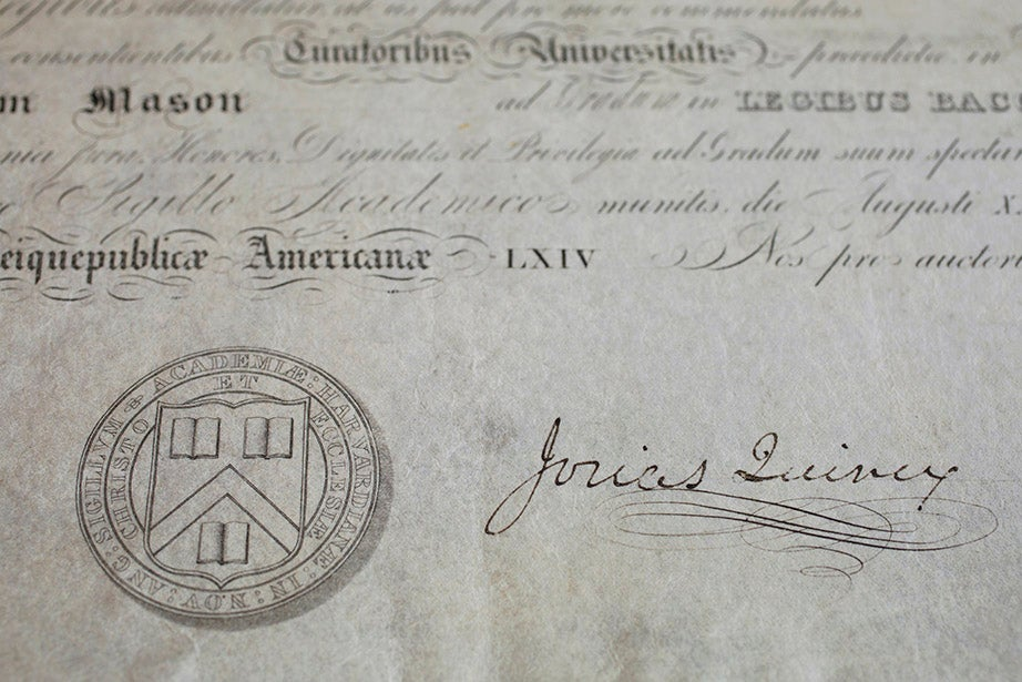 The earliest Harvard Law School diploma in the University's collections, from 1839. It memorializes an LL.B. degree earned by Henry Mason.