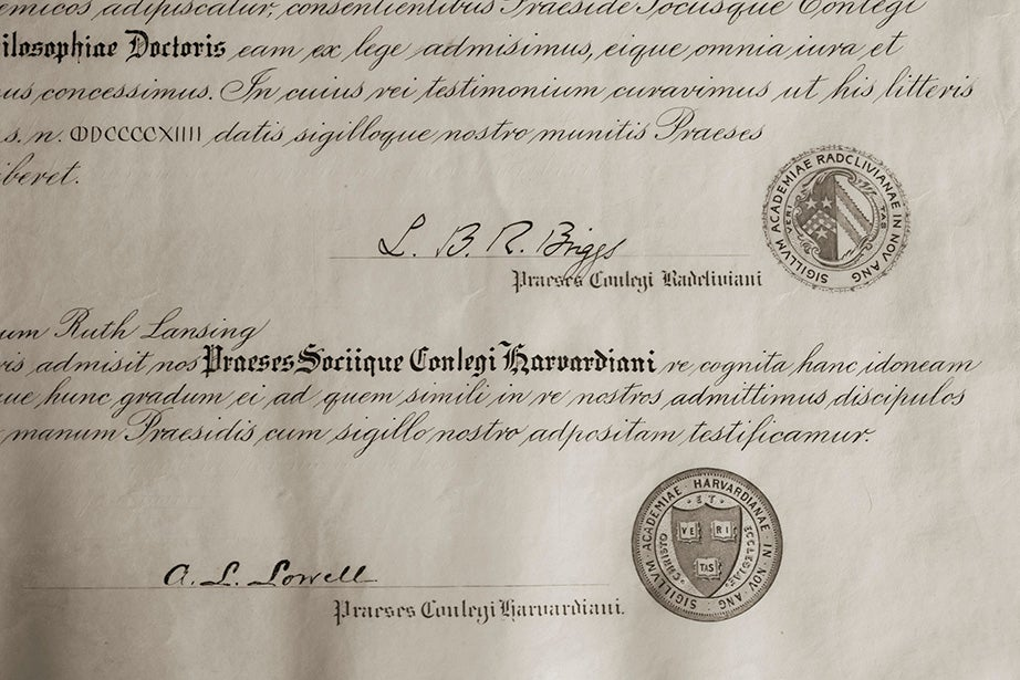 Radcliffe College graduate Ruth Lansing's 1914 diploma, memorializing her Ph.D. in Romance philology.