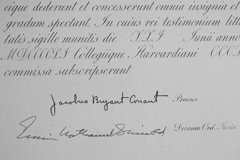 A detail from the 1951 LL.B. diploma of Clarence Clyde Ferguson Jr., which shows the bold, clear signature of James Bryant Conant, Class of 1914. His regime (1933-1953) marked the beginning of the University Professor program, need-blind admissions, the predecessor of the Harvard Kennedy School, the Graduate School of Design, the Nieman Foundation for Journalism, women in Harvard classrooms, and general education courses.