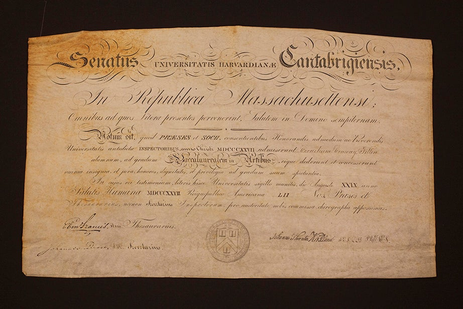 The 1827 A.B. diploma for Cornelius Conway Felton, a classics scholar who was president of Harvard from 1860 (when he presided over the first graduating class of more than 100 students) until his death in 1862.