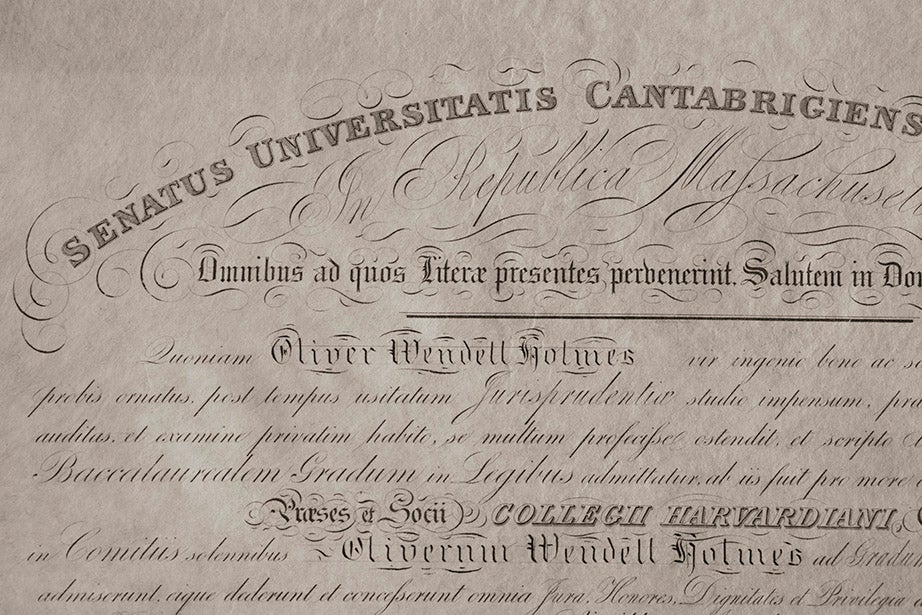 Oliver Wendell Holmes Jr. — Class of 1861 graduate, Union Army officer, and future justice of the U.S. Supreme Court — received his LL.B. from Harvard Law School in 1866. His diploma, pictured, is part of Harvard's collections.