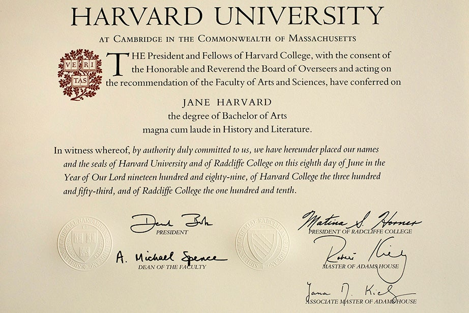A sample Harvard bachelor's degree diploma from 1989. It was in 1963 that graduates of Radcliffe College first received diplomas jointly with graduates of Harvard College.