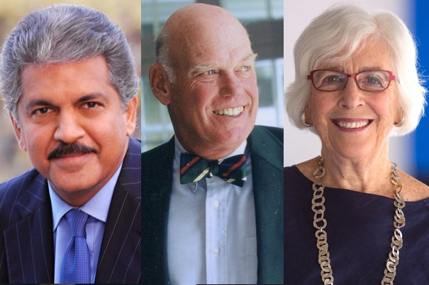 Harvard Medals will be awarded to three alumni during the Annual Meeting of the Harvard Alumni Association on Commencement Day. Recipients are Anand G. Mahindra '77, M.B.A. '81 (from left), J. Louis Newell '57, and Emily Rauh Pulitzer, A.M. '63.