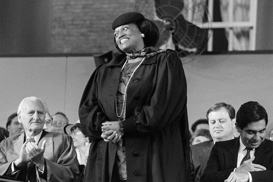 Four-time Grammy Award-winning American opera singer Jessye Norman acknowledges applause while standing to receive her honorary degree in 1988. A dramatic soprano, Norman is a successful performer of classical music especially known for her Wagnerian repertoire. Photo by Joe Wrinn
