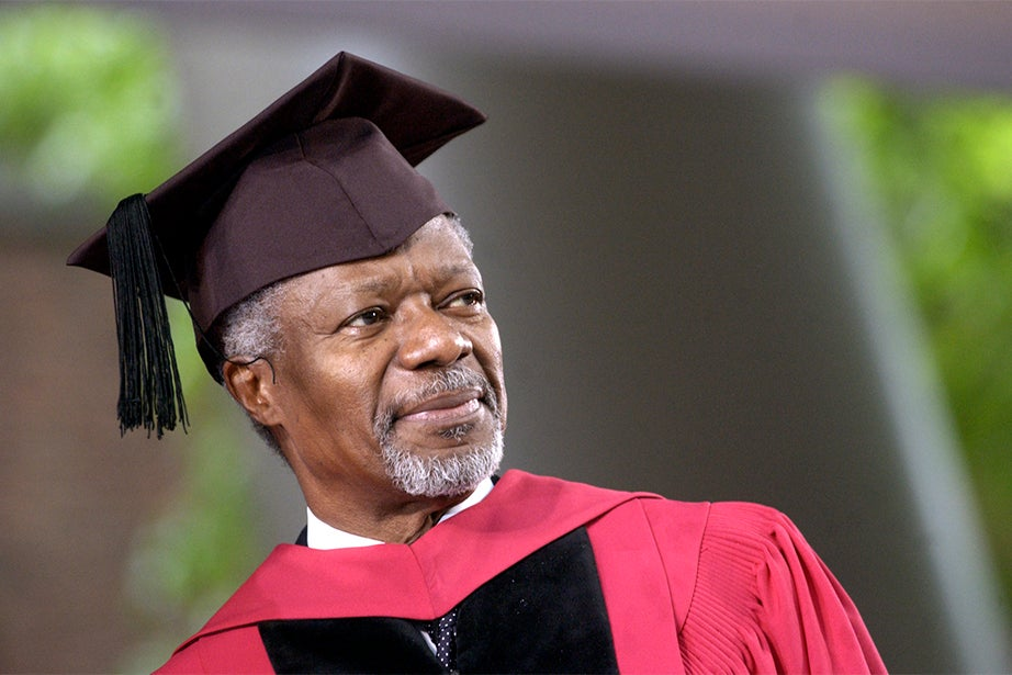 Secretary-General of the United Nations Kofi A. Annan stands to receive his honorary degree in 2004. Annan is a Ghanaian diplomat who served as the seventh secretary-general of the United Nations. He and the United Nations were co-recipients of the 2001 Nobel Peace Prize. Stephanie Mitchell/Harvard Staff Photographer