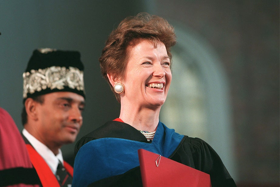 Mary Robinson, the 1998 Commencement speaker, smiles after receiving her honorary degree. Robinson served as the first female president of Ireland from 1990 to 1997, and was also the United Nations High Commissioner for Human Rights. Jon Chase/Harvard Staff Photographer