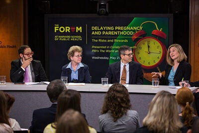 Experts I. Glenn Cohen (from left), Marie McCormick, Jeffrey Ecker, and Alison Earle discussed the risks and rewards of delaying parenthood during a panel at the Harvard School of Public Health.