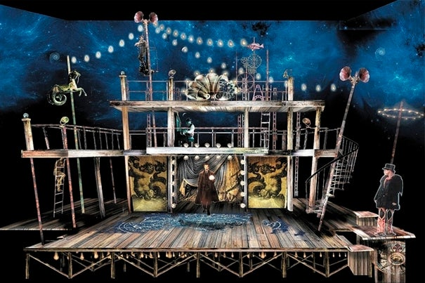 """By means of magic tricks, we want the audience to get the same kind of gobsmacked amazement as the characters,"" said Teller, who is co-directing a magic-inspired version of William Shakespeare's ""The Tempest."" A rendering of the set (photo 1).  Nate Dendy (photo 2), Tom Nelis, and Charlotte Graham during a rehearsal."