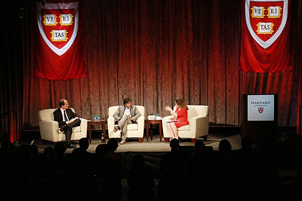 "At the latest ""Your Harvard"" event, Professors Cass Sunstein (from left, photo 1) and Sendhil Mullainathan, moderated by journalist and member of Canada's Parliament Chrystia Freeland '90,  discussed decision-making, behavioral ""nudges,"" and distraction's effects on IQ. President Drew Faust (photo 2) delivered a speech about Harvard — past, present, and future."