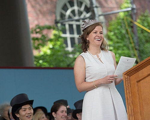 "Harvard Alumni Association President Catherine A. ""Kate"" Gellert '93 announced the results of the annual Board of Overseers election at Harvard's  Afternoon Exercises on Commencement Day."