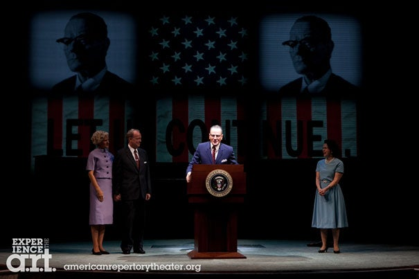 "The American Repertory Theater's ""All the Way,"" a searching look at President Lyndon B. Johnson's first year in office, nabbed the award for best play. Bryan Cranston (center) also received a Tony for best actor."