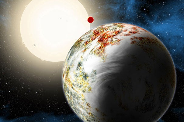 "The newly discovered ""mega-Earth"" Kepler-10c dominates the foreground in this artist's conception. Its sibling, the ""lava world"" Kepler-10b, is in the background."