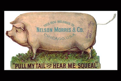 """The Art of American Advertising, 1865-1910"" includes novelty items like this pull-string trade card for Nelson Morris & Co. sugar-cured hams from the Bates Trade Card Collection (photo 1); and babies angle for a meal in this Wells, Richardson & Co. trade card for Lactated Food (photo 2)."