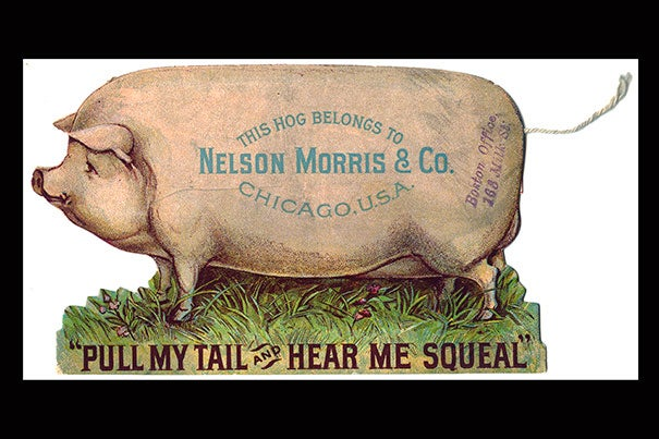 """""""The Art of American Advertising, 1865-1910"""" includes novelty items like this pull-string trade card for Nelson Morris & Co. sugar-cured hams from the Bates Trade Card Collection (photo 1); and babies angle for a meal in this Wells, Richardson & Co. trade card for Lactated Food (photo 2)."""