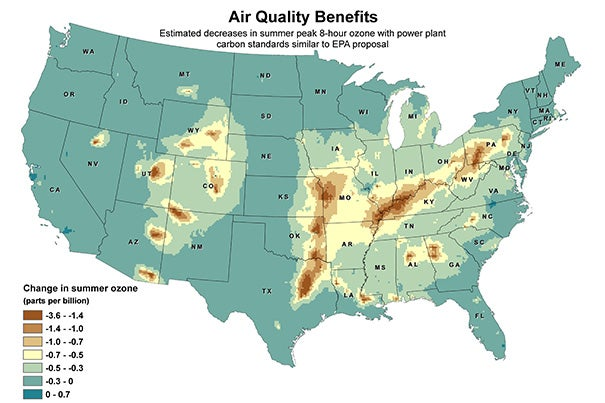 The maps (images 1, 2), which depict the benefits of reducing co-pollutants of sulfur dioxide and nitrogen oxides, are a close approximation of the clean air benefits the EPA standards are likely to achieve.