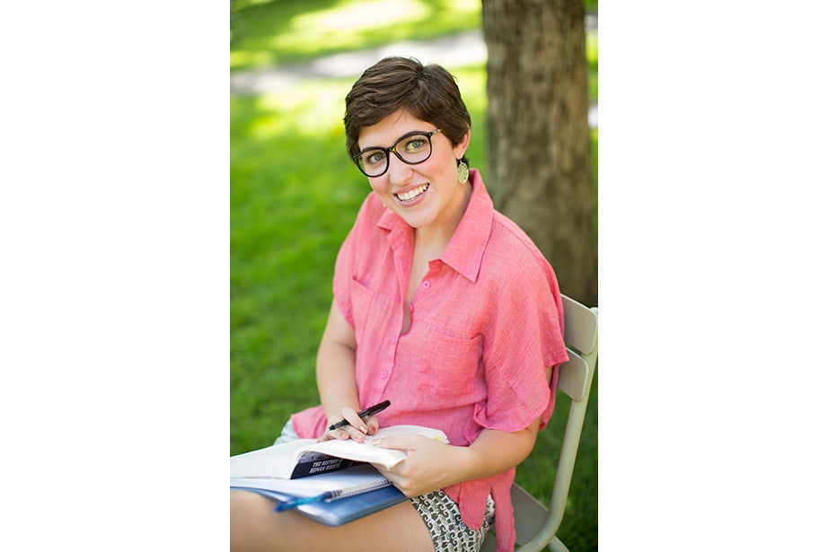 """My style is vintage/New Age,"" said Ami Artiz, a summer school student, reading on the colorful chairs in Harvard Yard. ""I like to mix and match a lot. I shop at Goodwill … and this shirt is from a little boutique. I like to support local businesses."""