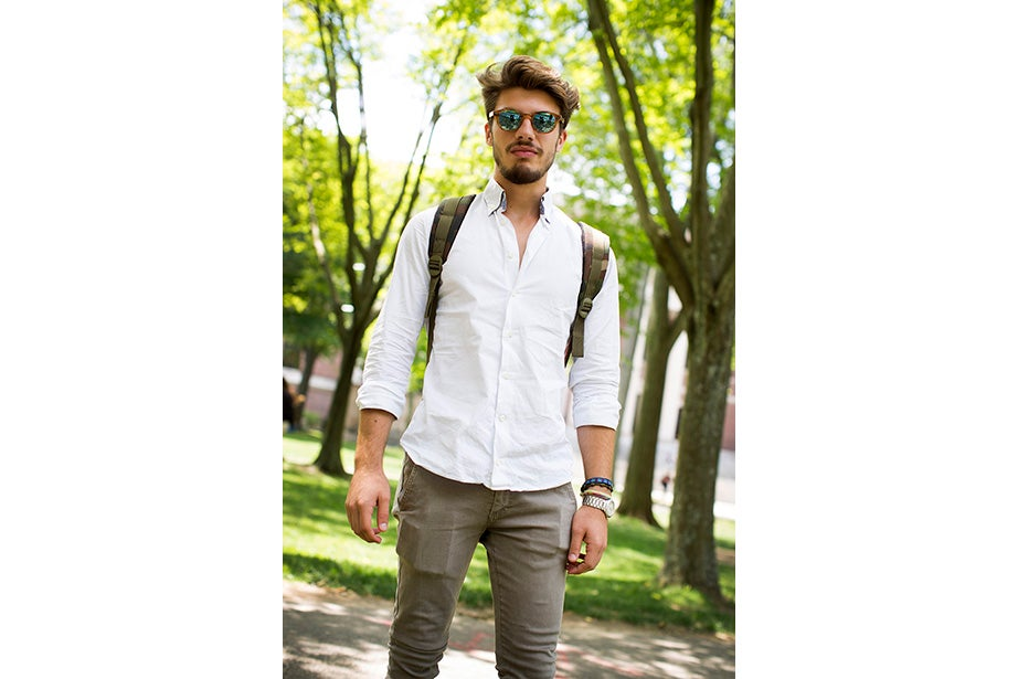 "Matteo Mauti, an international summer student, brought European flair to Harvard Summer School. ""This is an example of a classic look from Italy."""