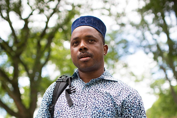 """""""This is an African hat,"""" said West Africa-born Boubacar Diakite, a professor in the Department of African Studies. """"Once you reach 40, you wear it every day. It's a sign of wisdom."""""""